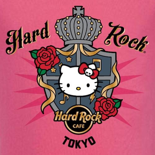 Youth Hello Kitty Emblem Tee-Pink(ロゴアップ写真) by ハローキティとハードロックカフェのコラボTシャツ