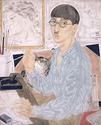 猫と藤田嗣治 《自画像》 1929年 油彩・カンヴァス 東京国立近代美術館蔵