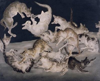 藤田嗣治 《争闘(猫)》 1940年 油彩・カンヴァス 東京国立近代美術館蔵