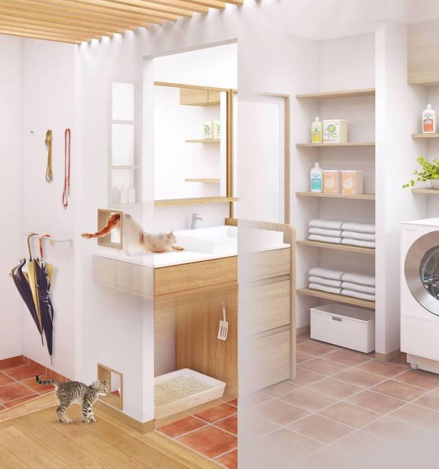 猫のリノベーションイメージ「猫トイレ設置スペース付きの洗面台」