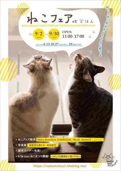 大和郡山市の本屋「とほん」で開催されるイベント「ねこフェア」のポスター