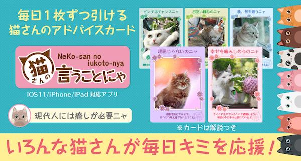 猫の写真付きメッセージカードを毎日引けるスマホアプリ「猫さんの言うことにゃ」