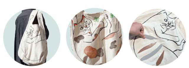 猫トートバッグをデコレーションできるワークショップ