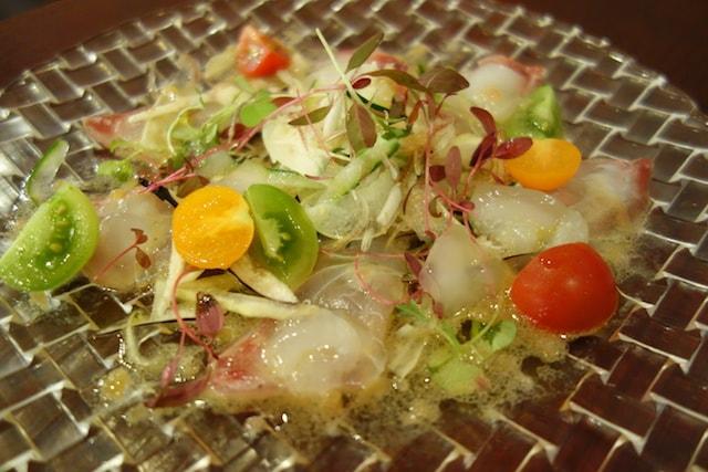山形だしと甘鯛のカルパッチョ〜純米大吟醸ジュレ〜