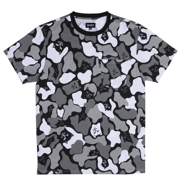 猫のTシャツ「Blizzard Camo Tee」 by RIPNDIP