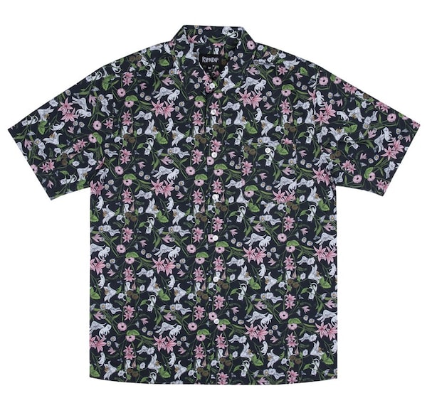 猫のシャツ「Nerm Flower Button Up」 by RIPNDIP