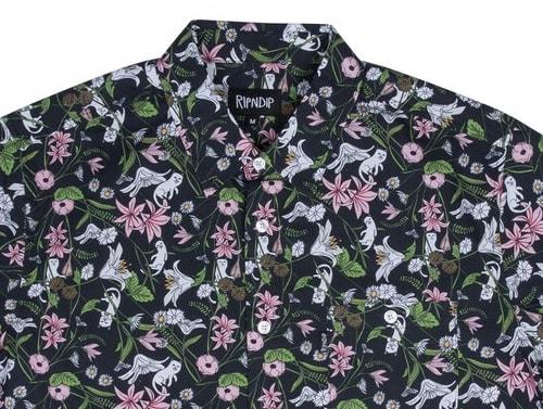猫のシャツ「Nerm Flower Button Up」拡大写真