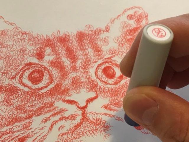 ハンコで猫を描いている様子(拡大図) by スーパーハンコアート作家 安東和之