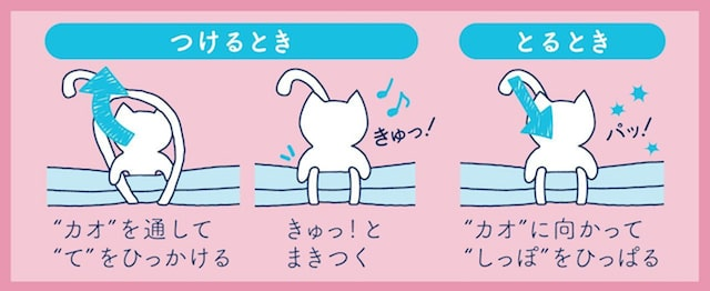 猫型ゴムバンド「Qutto(きゅっと)」の使い方