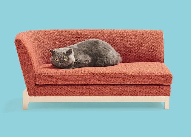 肘置きが片方だけにある猫用ソファ by ネコ家具