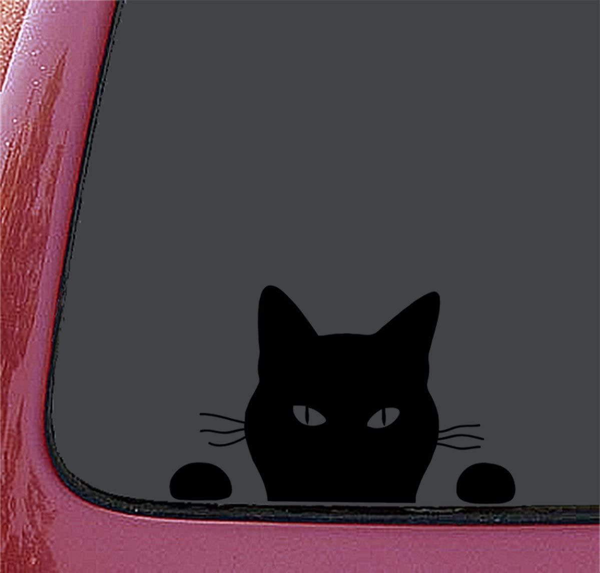 猫が後部座席から後方車を覗いているように見えるイラストの車用ステッカー「覗き見る猫」