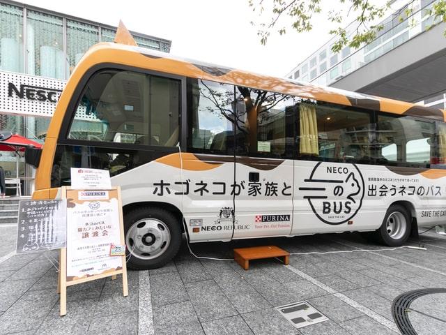 バスの車内で譲渡会「ネコのバス」の車体イメージ