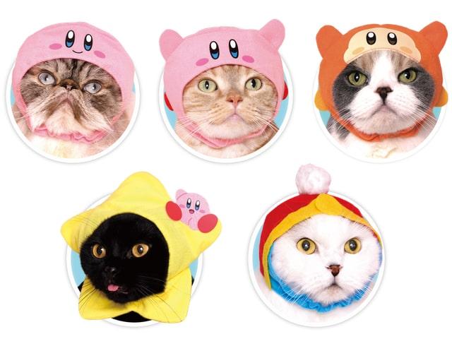 猫が「星のカービィ」を装着したイメージ