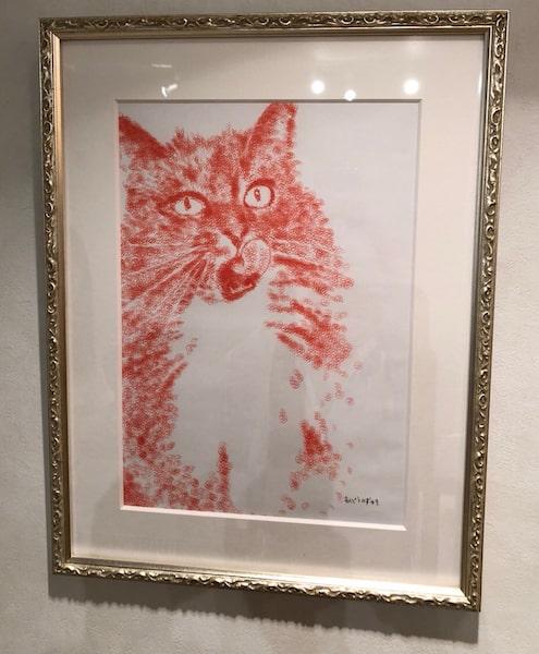 安東和之氏による、ハンコで描いた猫の作品(スーパーハンコ)