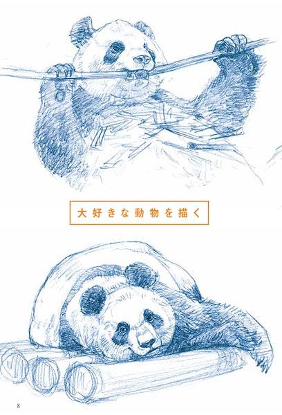 パンダのデッサン例 by 動物デッサンテクニック