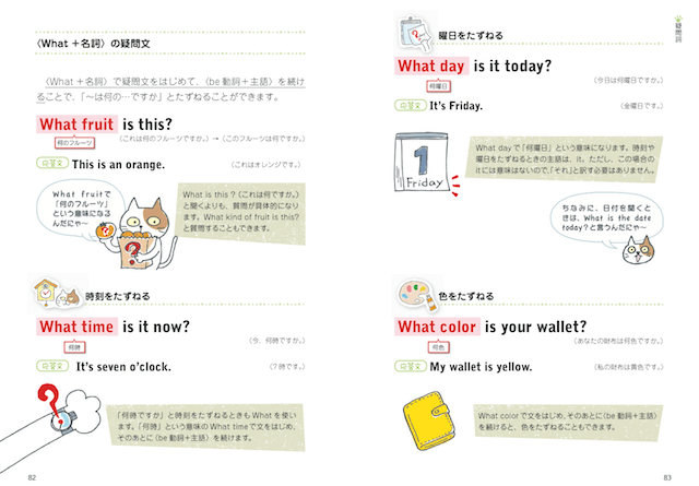 猫のイラストによる英文法解説イメージ by 「中学英語がぜんぶ身につくイラストBOOK」