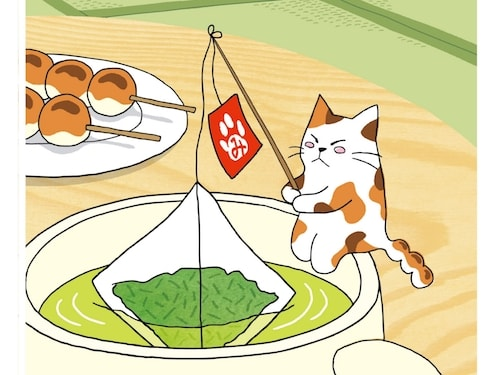日本茶のティーバッグが入ったカップの中で釣りをする「みたらしちゃん」