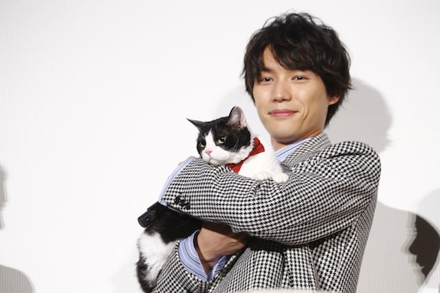 映画「旅猫リポート」公開初日舞台挨拶に登場した福士蒼汰と猫のナナ