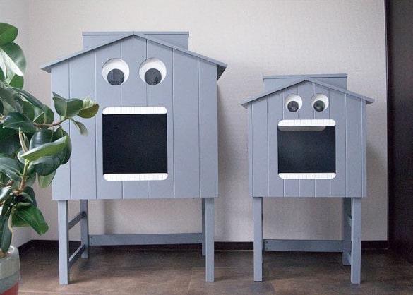 ペットハウス「マイクとチアリの家」に台脚を装着したイメージ