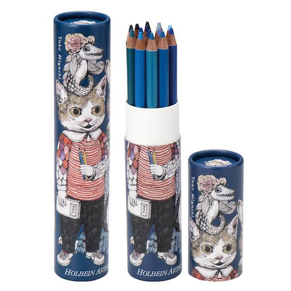 ヒグチユウコ×ホルベインの色鉛筆15色セット(青)