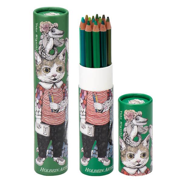 ヒグチユウコ×ホルベインの色鉛筆15色セット(緑)