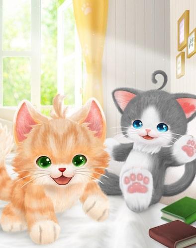 ゲーム「ネコ・トモ」に登場する2匹の猫キャラクター