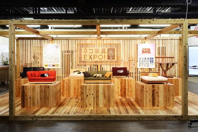 ネコ家具」を間近で見て触れる「ネコ家具EXPO!」の展示風景