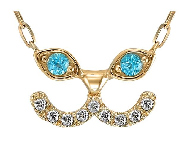 アーモンド型の瞳にブルートパーズを埋め込んだ猫デザインのネックレス by STAR JEWELRY Girl