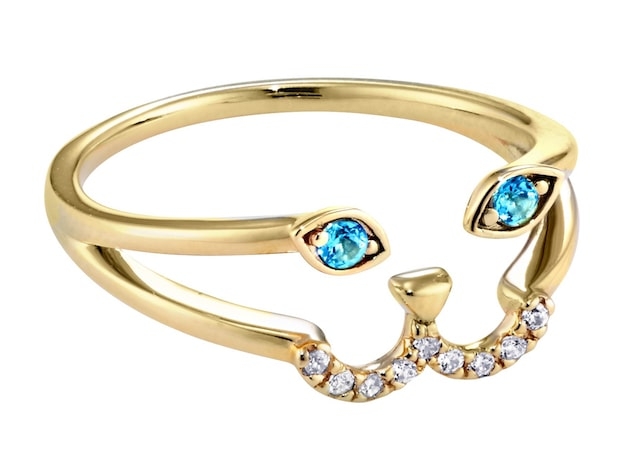 アーモンド型の瞳にブルートパーズを埋め込んだ猫デザインのリング by STAR JEWELRY Girl