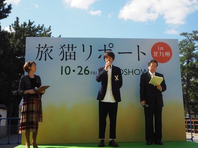 旅猫リポートのイベントでトークする福士蒼汰 in 小倉城