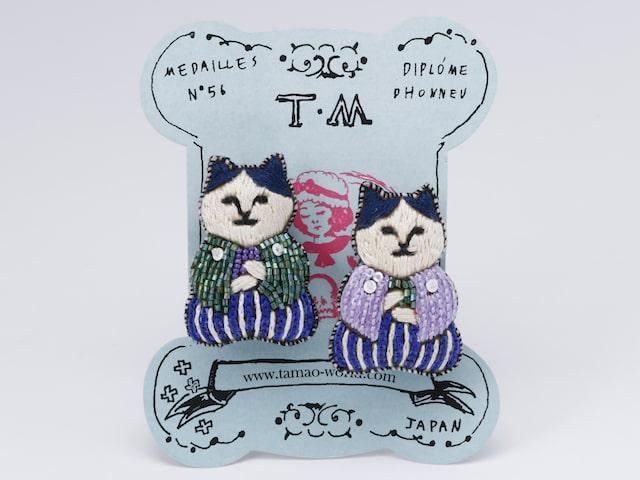 ねこ茶商デザインの「刺繍ミニブローチセット」
