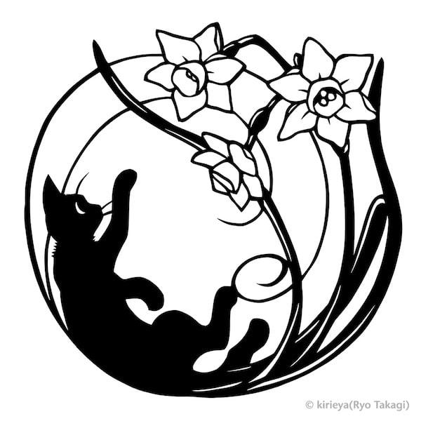猫の切り絵作品「ユメと水仙」 by 高木亮