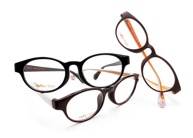 フレームに猫の肉球がデザインされた可愛らしいメガネ「続・ねころりん」