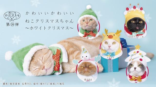 キタンクラブのカプセルトイ、猫用のかぶりもの「かわいい かわいい ねこクリスマスちゃん ~ホワイトクリスマス~」
