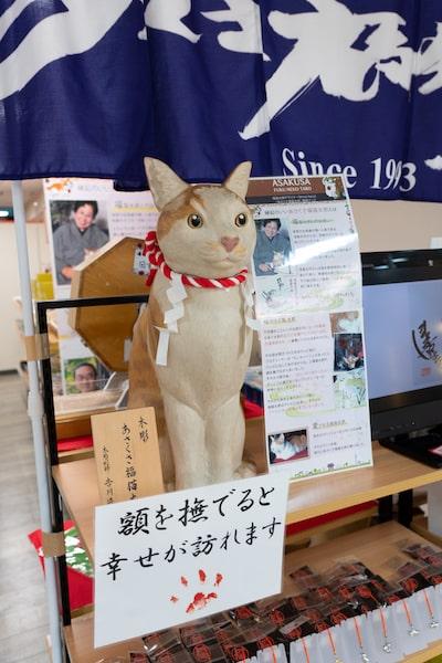 「あさくさ福猫太郎」の木彫人形