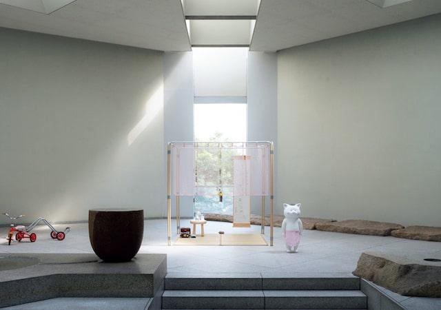 猫村さんの茶室世界 「夢のネコムーランド」の展示風景