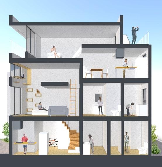 猫と共生型のマンション「feel CnB(フィール シーアンビー)」の内部イメージ