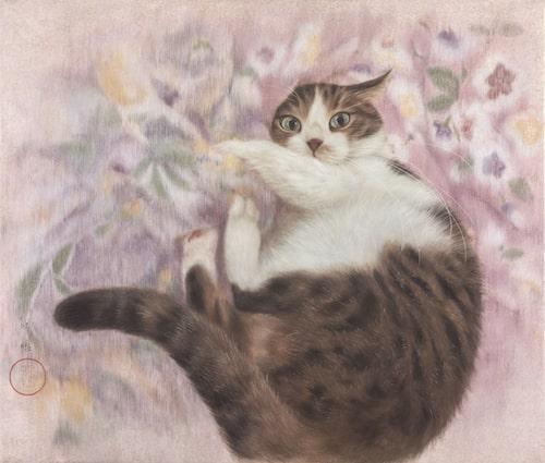 猫の絵画作品「ごろり」 by チン・ぺイイ(陳 珮怡)