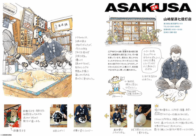 猫がいるお店、山崎屋源七提灯店のイラスト