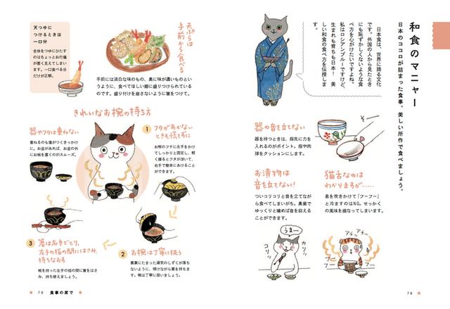 和食の席でのマナーをイラストで解説 by ロシアンブルー先生に教わる 美しいしぐさとマニャー