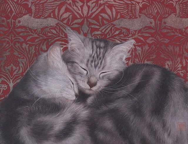 猫の絵画作品「親情」 by チン・ぺイイ(陳 珮怡)