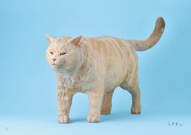 クリーム猫の木彫り作品 by はしもとみお