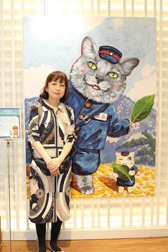 会場に訪れた深谷かほるさん by 夜廻り猫展 ~深谷かほる作品展2~