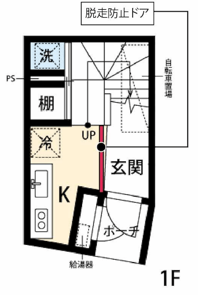 脱走防止扉の設置場所イメージ(間取り図)