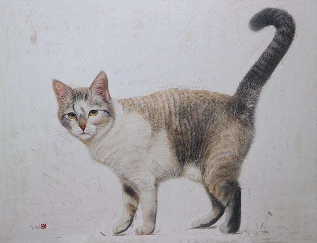 超リアルなクレヨン画の猫「作品名:気高く」 by 市来功成