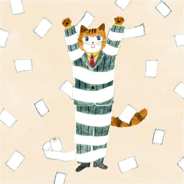 スーツを着たサラリーマン風の猫のイラスト by 布川愛子
