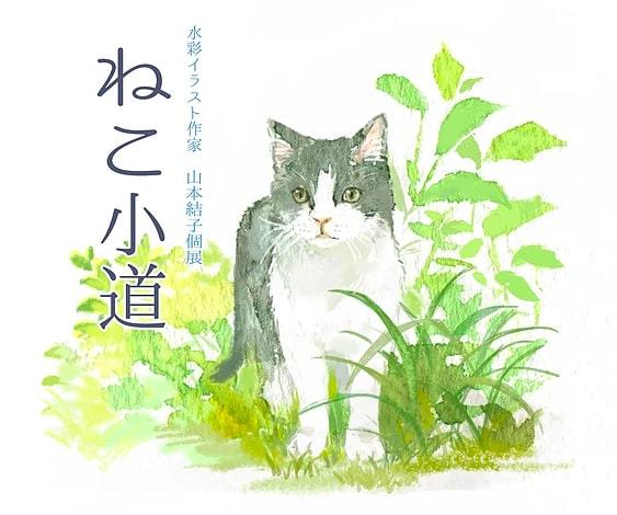 水彩イラスト作家・山本結子さんの個展「ねこ小道」