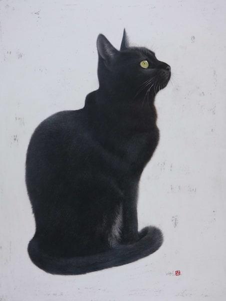クレヨンと水彩絵具で描いた黒猫の絵「作品名:黎明」 by 市来功成