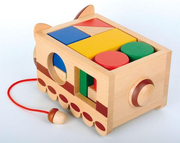 ネコバスの積み木の玩具、斜め後方から見た製品イメージ