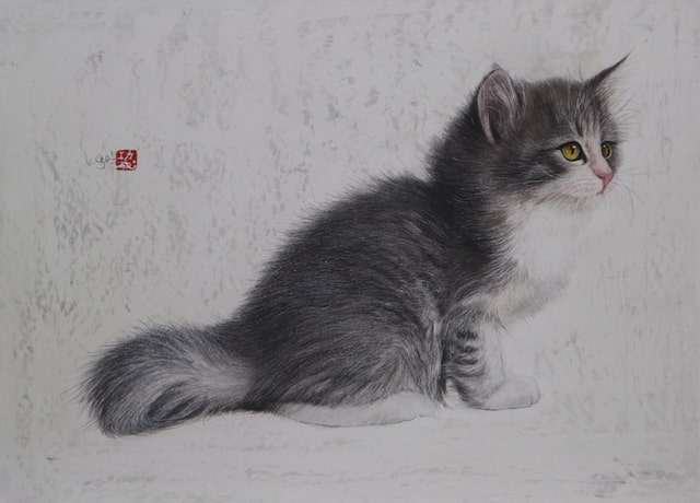 クレヨンと水彩絵具で描いた長毛子猫の絵「作品名:願いはひとつ」 by 市来功成